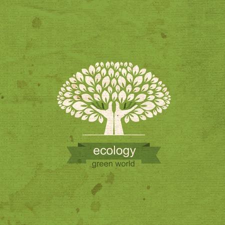 community garden: tree and hands.