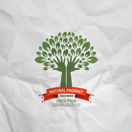 young tree: Nature and human hands. Vector illustration Illustration