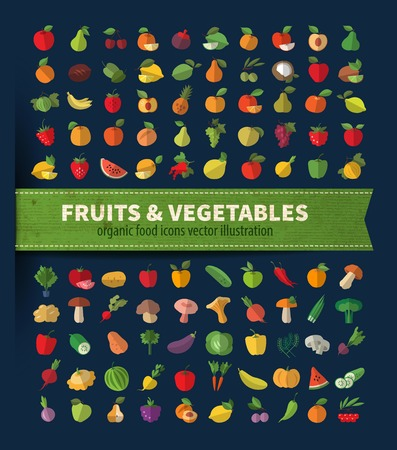 The collection of icons on fruits and vegetables. Vector illustration