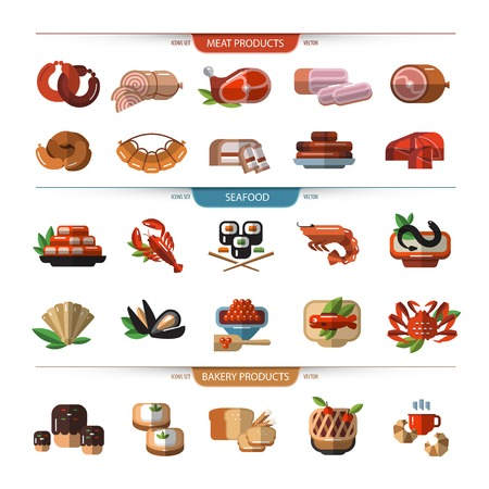 cellulose: Food set of icons, symbols. Meat, seafood, bread. Illustration