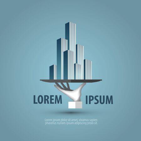 condominium complex: Design icon for your company. Vector illustration