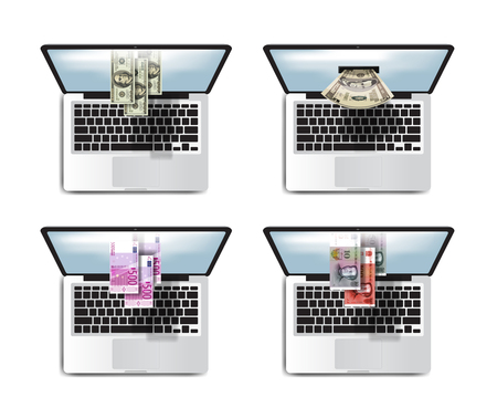 money online: Business. Money online profits. Laptop icon set