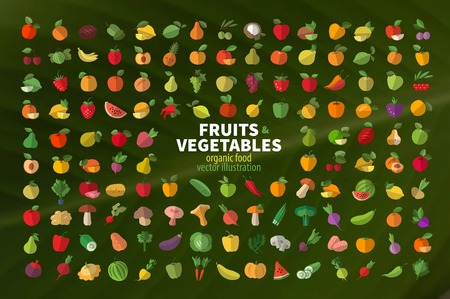 Set of fruits and vegetables icons. Vector illustration Illustration