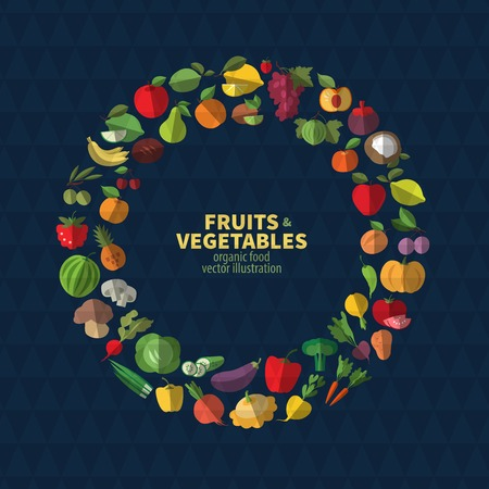 Cartoon vegetables and fruits. Crop circle icons Illustration