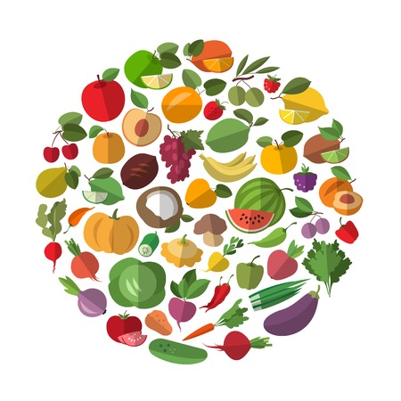 Fruits and vegetables in a circle. Food icon collection Stock Illustratie