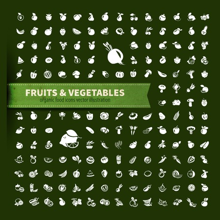 food. fruit and vegetables icon set Stock Illustratie