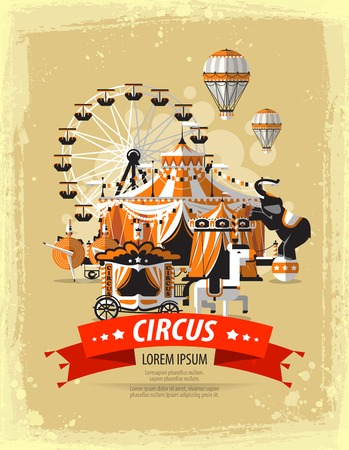 Circus tent  with space for text. The design of the banner circus