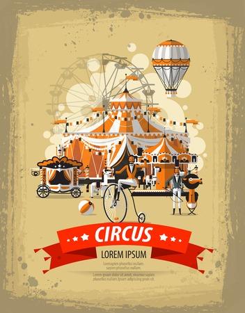 cartoon circus: Circus performance. Poster, banner, presentation. Vector illustration Illustration