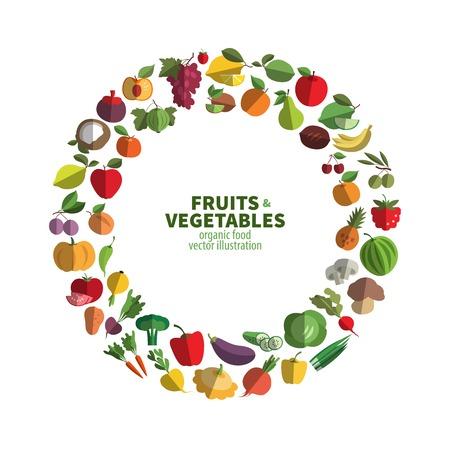 Oogst. Voedsel pictogrammen in een cirkel. vector illustratie