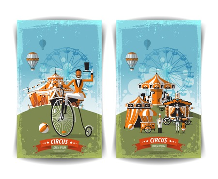 vintage circus poster, template, flyer, banner 일러스트