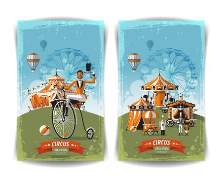 vintage circus poster, template, flyer, banner Illustration