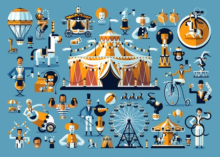 Circus Entertainment. A cute circus performance related items Vector