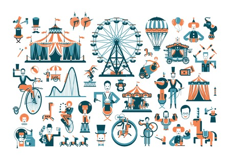 wheel: Vintage funfair and circus park and sign. Vector illustration