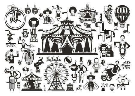 circus performer: cute circus performance related items. Vector illustration