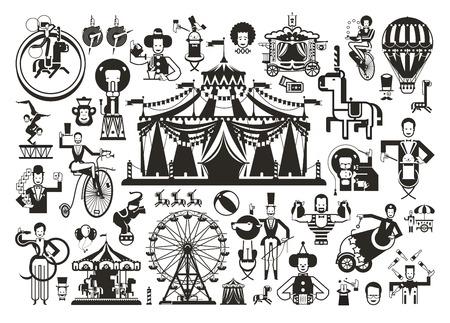 schattige circusvoorstelling gerelateerde items. Vector illustratie