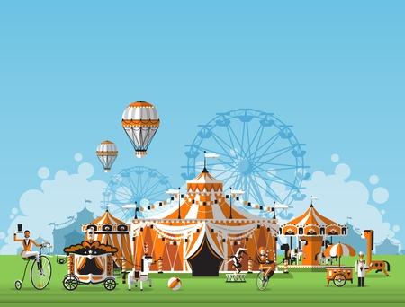 diversion: Ilustración vectorial de carpa de circo. Recinto ferial en el prado