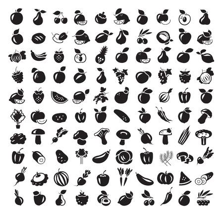 Groenten en Fruit icon set. Vector illustratie Stockfoto - 34985041