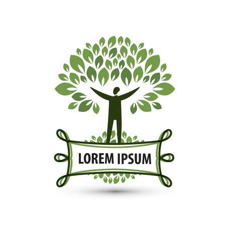 recycling logo: Ecology. Man, wood and plate with place for your text Illustration