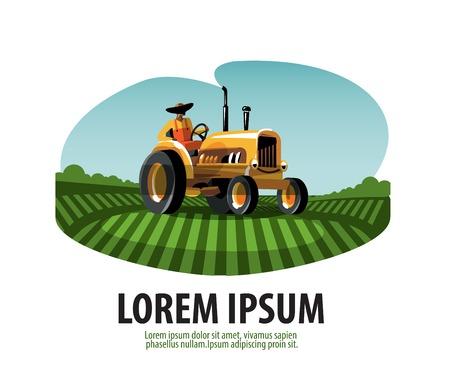 Granjero en un tractor trabajando en el campo. ilustración vectorial