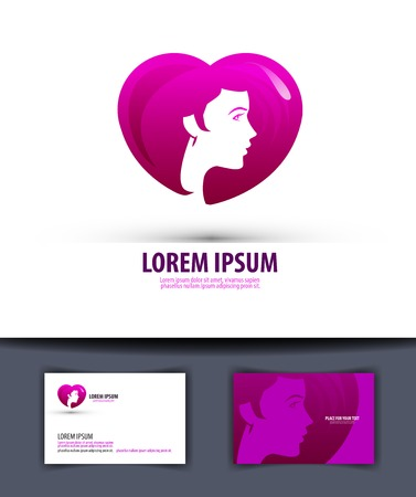 unisex: Silhouette of the head of a young girl on the background of the heart. vector illustration