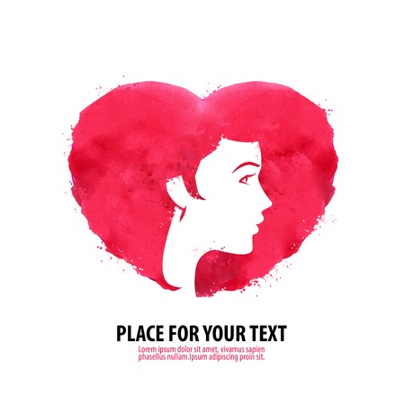 beauty saloon: Silhouette of the head of a young girl on a background of red hearts Illustration