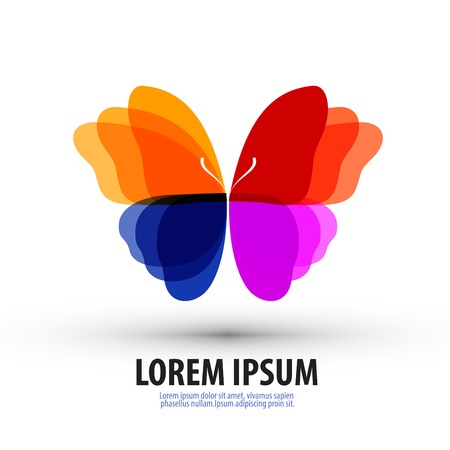 artistic logo: Butterfly with colorful wings on a white background. vector illustration