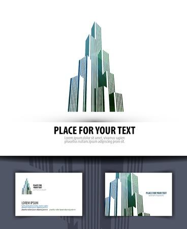 logo batiment: Une grande ville sur un fond blanc. illustration vectorielle