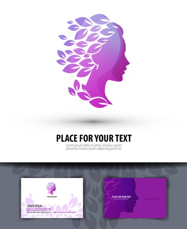 Beautiful girl\'s head and nature. vector illustration
