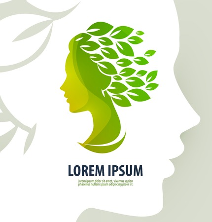 Silhouette of the head of a young girl on a white background. vector illustration