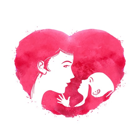 sitter: Silhouette of mother and child on a background of red hearts. vector illustration Illustration