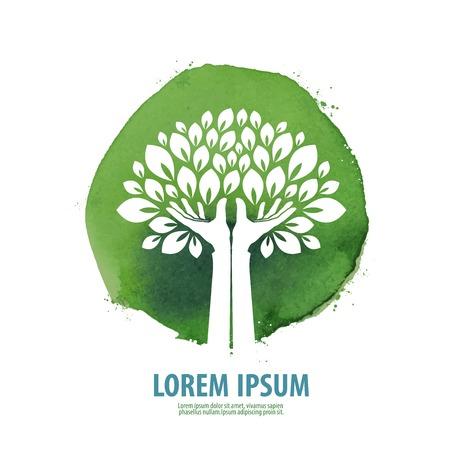 boom: abstracte boom op een groene achtergrond. vector illustratie Stock Illustratie