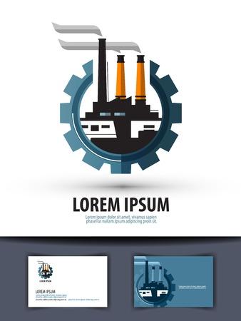 refiner�a de petr�leo: f�brica y el engranaje sobre un fondo blanco. ilustraci�n vectorial Vectores