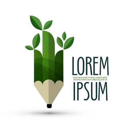 lapiz: L�piz verde con hojas sobre un fondo blanco. ilustraci�n vectorial