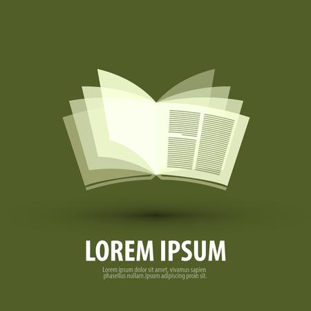 libro abierto sobre un fondo verde. ilustración vectorial