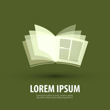magazine icon: open book on a green background. vector illustration Illustration