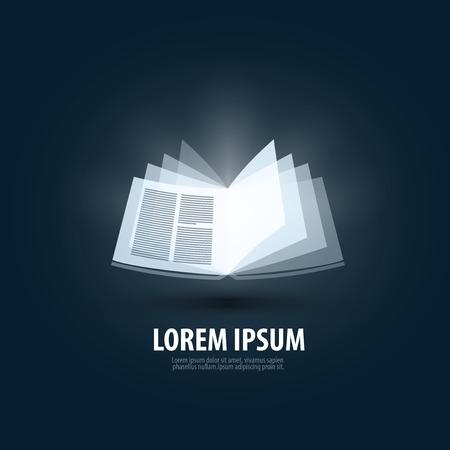 Open book on a dark background. vector illustration Illustration