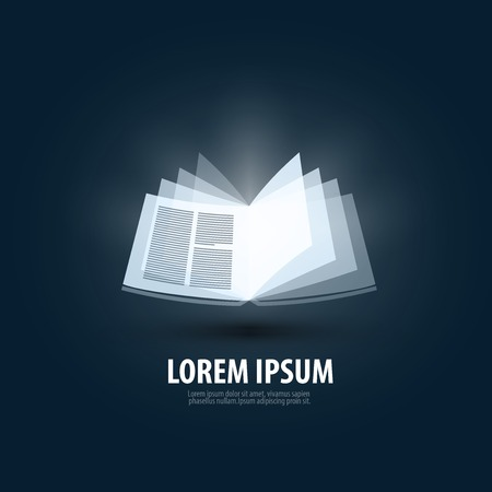 Open book on a dark background. vector illustration Illustration