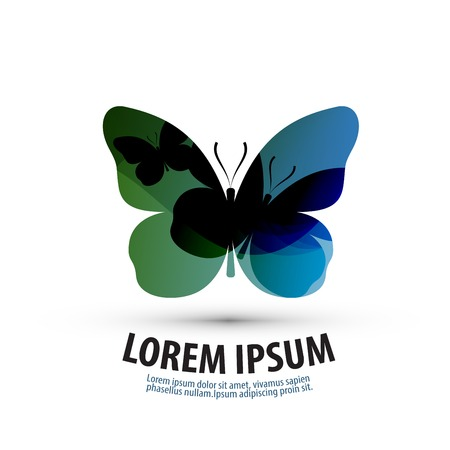 morpho: abstract silhouette of a butterfly on a white background. vector illustration