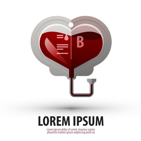 donor blood type: blood in the package in the form of heart on a white background