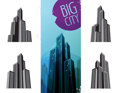 megapolis: Megapolis icon collection on a white background. vector illustration
