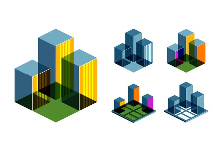 foundation: City collection of colored icons on a white background. vector illustration
