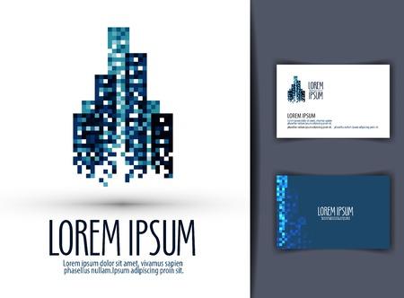 logotipo de construccion: imagen abstracta de la ciudad sobre un fondo blanco. ilustraci�n vectorial