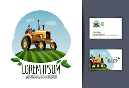 harvest: Farming. tractor in the field. vector illustration