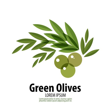 symbolic: abstract image of green olives on a white background. vector illustration Illustration