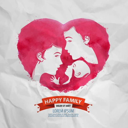 watercolor. silhouette of happy family on a background of heart Vector