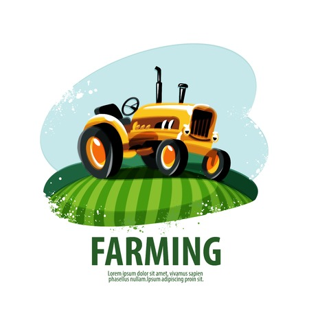tractor in field: Cartoon colored tractor on the field. vector illustration