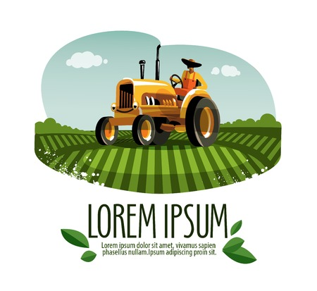 farms: colored cartoon tractor in the field. vector illustration