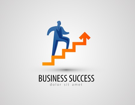 success: Businessman climbing stairs on a gray background. vector illustration