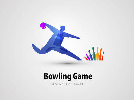 bowling strike: bowling game on a gray background. vector illustration