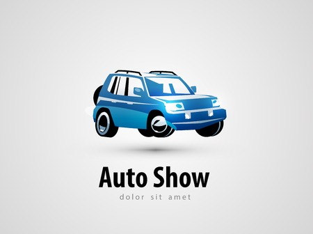 blue car on a gray background. vector illustration